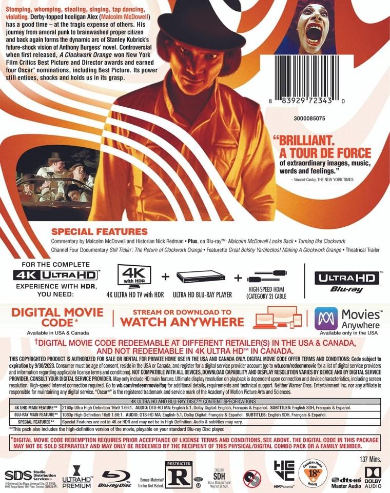 'A Clockwork Orange'; Stanley Kubrick's Masterpiece Arrives On 4K Ultra HD & Digital September 21, 2021 From Warner Bros 2