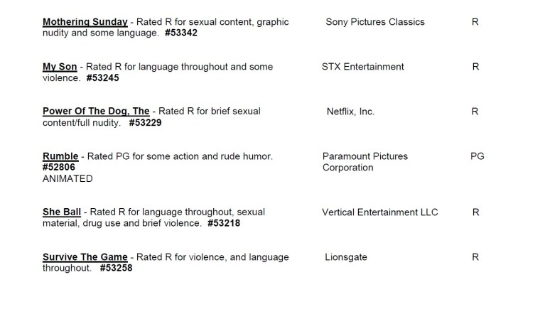 CARA/MPA Film Ratings BULLETIN For 08/04/21; MPA Ratings & Rating Reasons For 'Rumble', 'Injustice', 'She Ball' & More 9