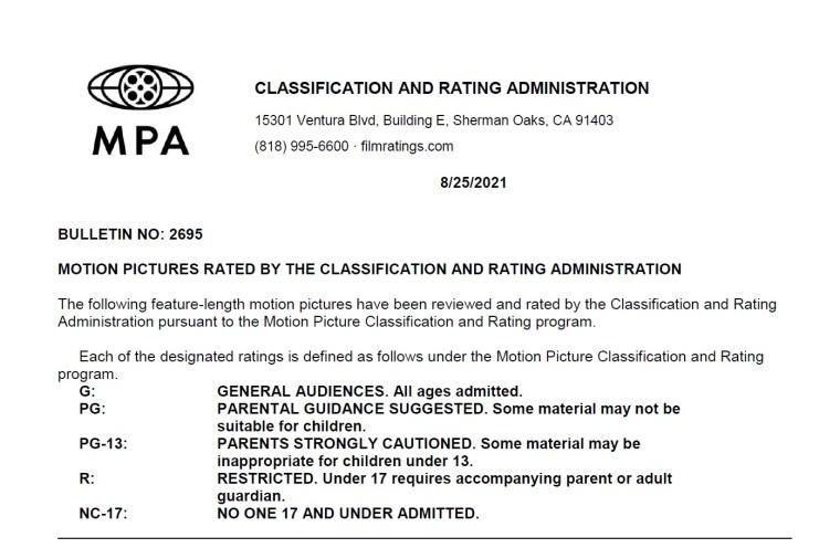 CARA/MPA Film Ratings BULLETIN For 08/25/21; MPA Ratings & Rating Reasons For 'Hotel Transylvania: Transformania', 'Encounter' & More 8