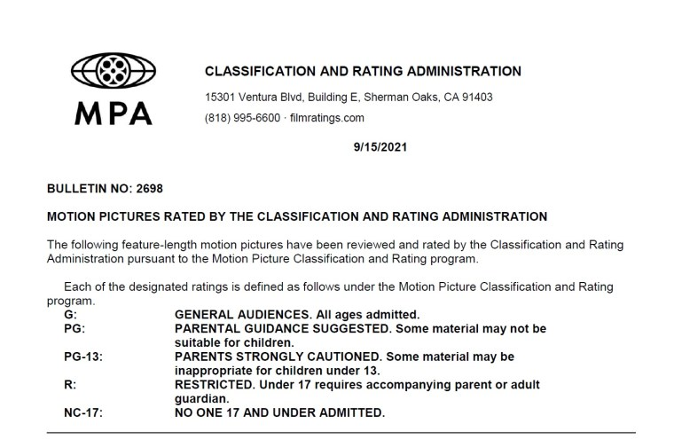 CARA/MPA Film Ratings BULLETIN For 09/15/21; MPA Ratings & Rating Reasons For 'Paranormal Activity: Next Of Kin', 'Diary Of A Wimpy Kid', 'Licorice Pizza' & More 8