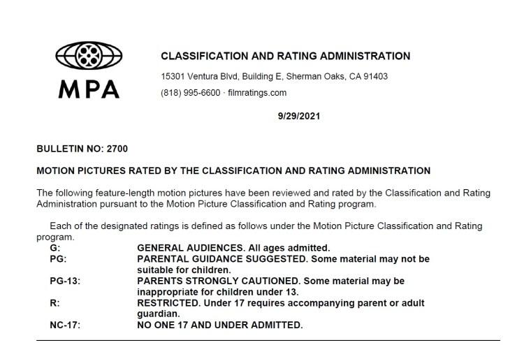 CARA/MPA Film Ratings BULLETIN For 09/29/21; MPA Ratings & Rating Reasons For 'Last Night In Soho', 'Spencer' 'Encanto' & More 7