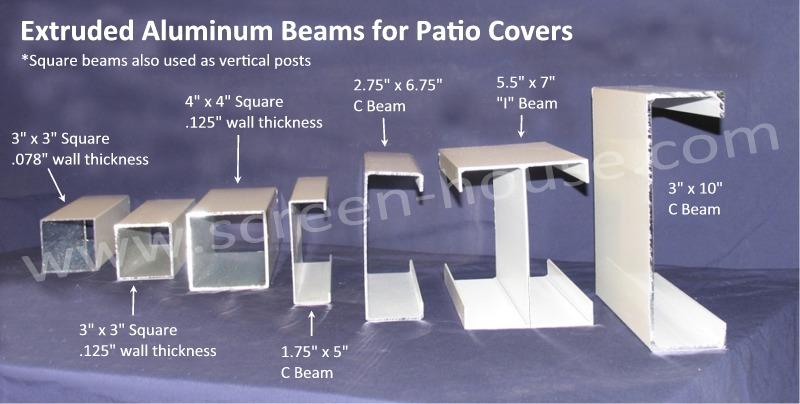 aluminum patio cover beam and post details