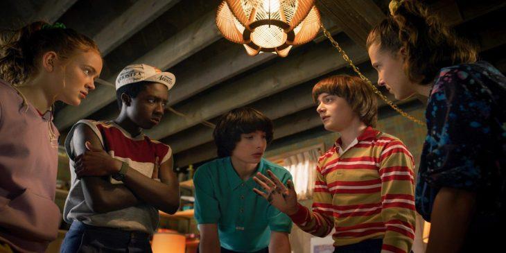 Stranger Things<br /> SEASON<br /> Season 3<br /> PHOTO CREDIT<br /> Netflix<br /> PICTURED<br /> Sadie Sink, Caleb McLaughlin, Finn Wolfhard, Noah Schnapp, Millie Bobby Brown