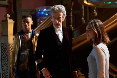 Picture shows: Joivan Wade as Rigsy, Peter Capaldi as the Doctor and Jenna Coleman as Clara