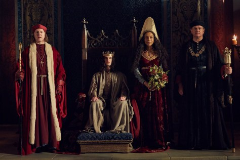 L-R Samuel West as Bishop of Winchester, Tom Sturridge as Henry VI, Sophie Okonedo as Queen Margaret, Hugh Bonneville as Glouster