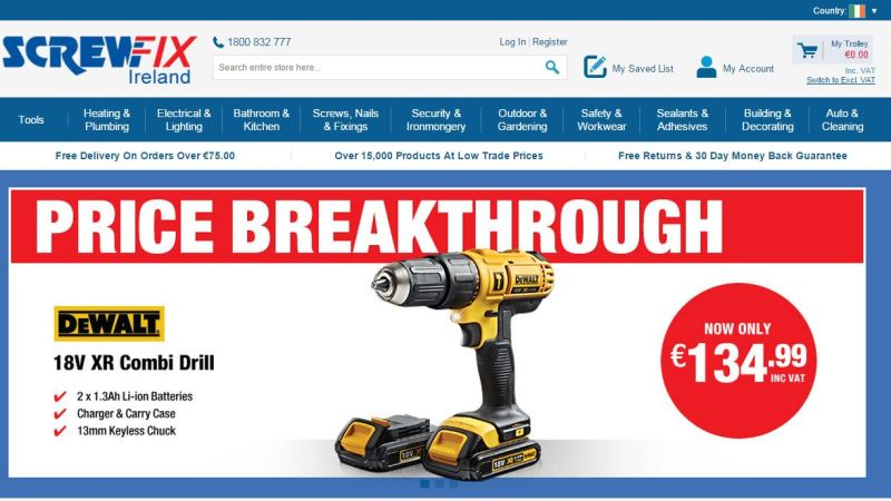 Screwfix sets up shop in the Republic of Ireland with new website