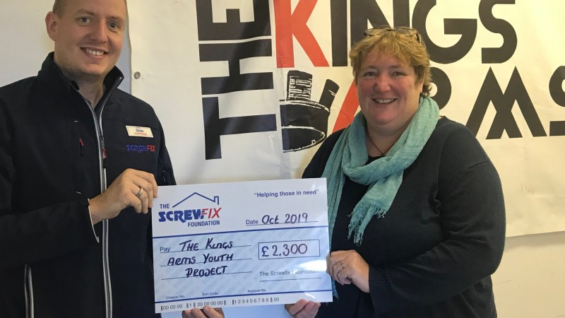 The Screwfix Foundation supports The Kings Arms Youth Project in Petersfield