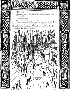 Sample image from a page of the Flightless story. Celtic border with city of Avonmora by David Borden