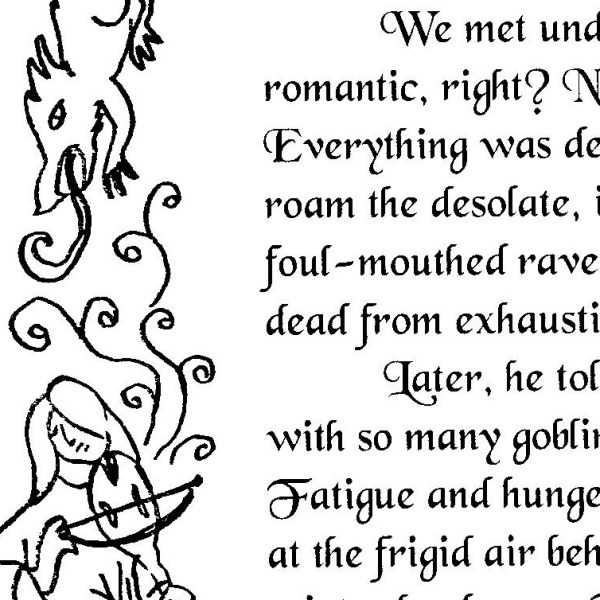 snippet of the medieval-style illuminated letter story of the Flightless Letters