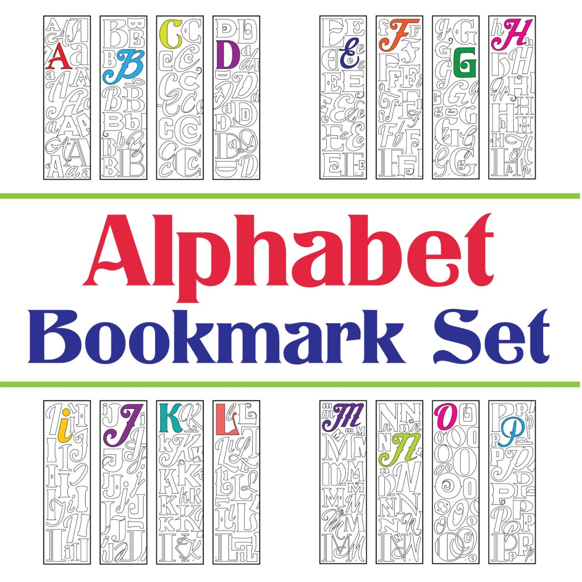 Alphabet letter bookmarks set of 7 printable coloring pages 28
