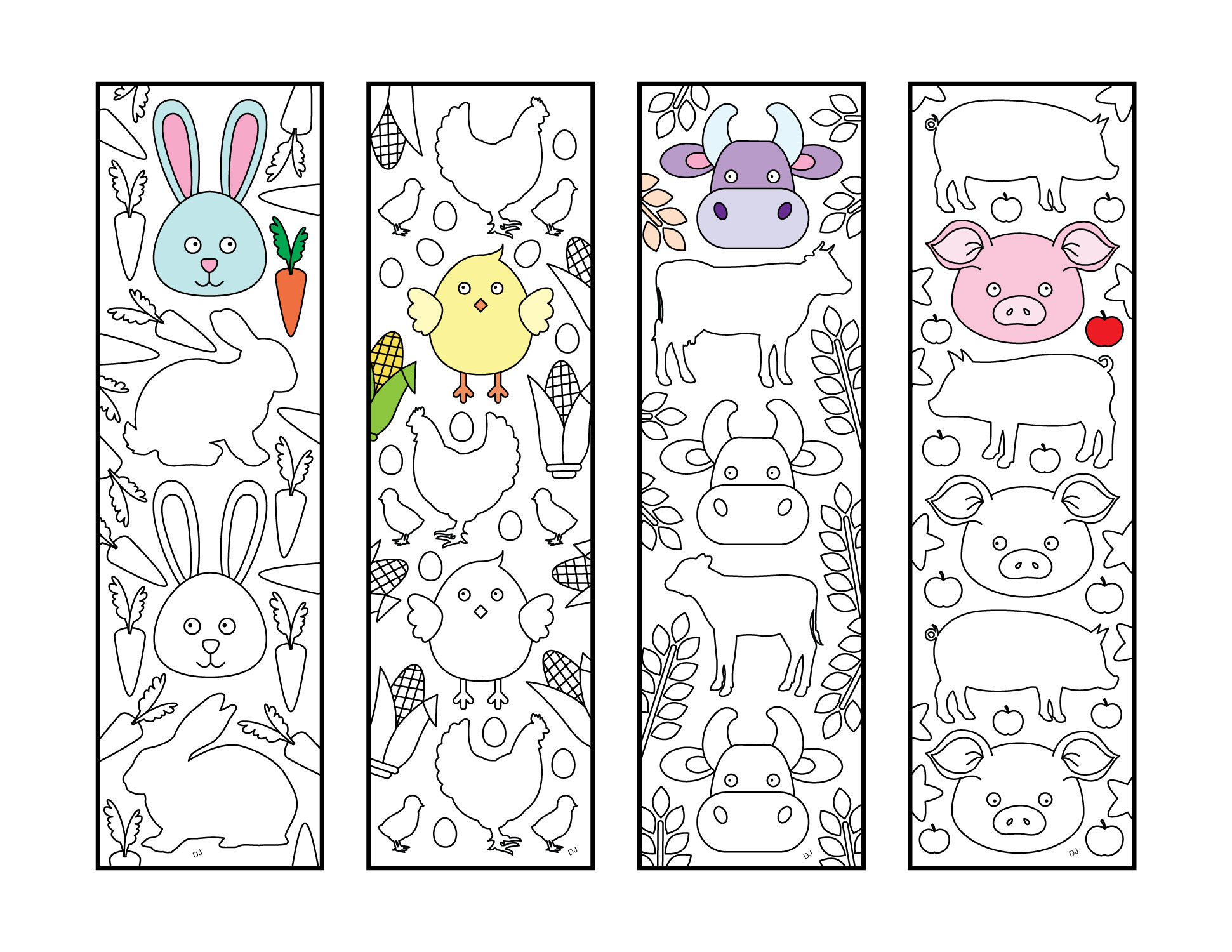 Cute Farm Animal Bookmarks - PDF Zentangle Coloring Page ...