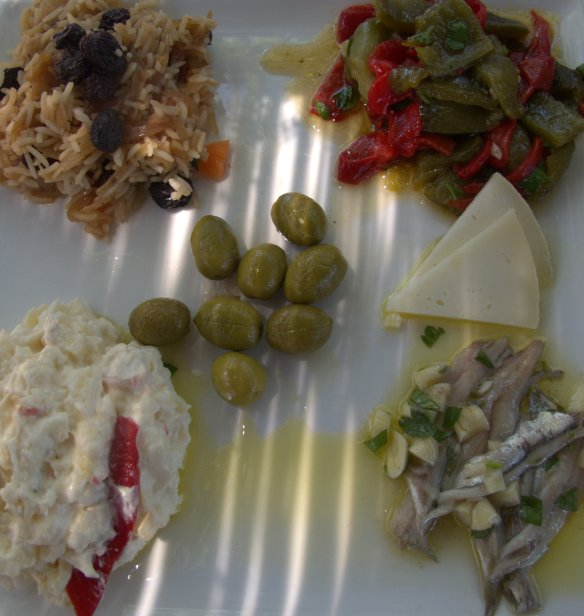 Plate of cold tapas at Al Lago restaurant in Zajhara.