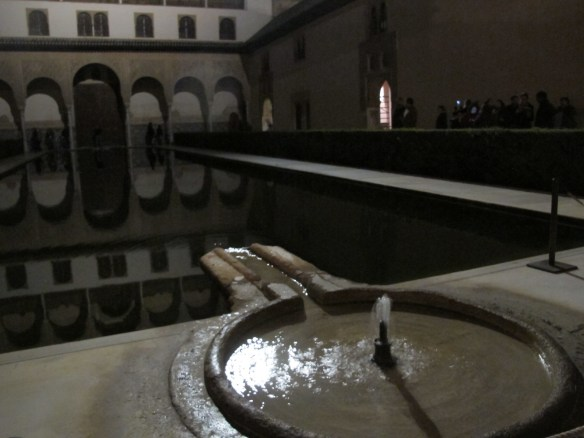 Courtyard in the Comares Palace - water was essential to Moorish architecture, for its soothing sound, artistic (reflective) qualities and cooling effects in the sweltering summer.