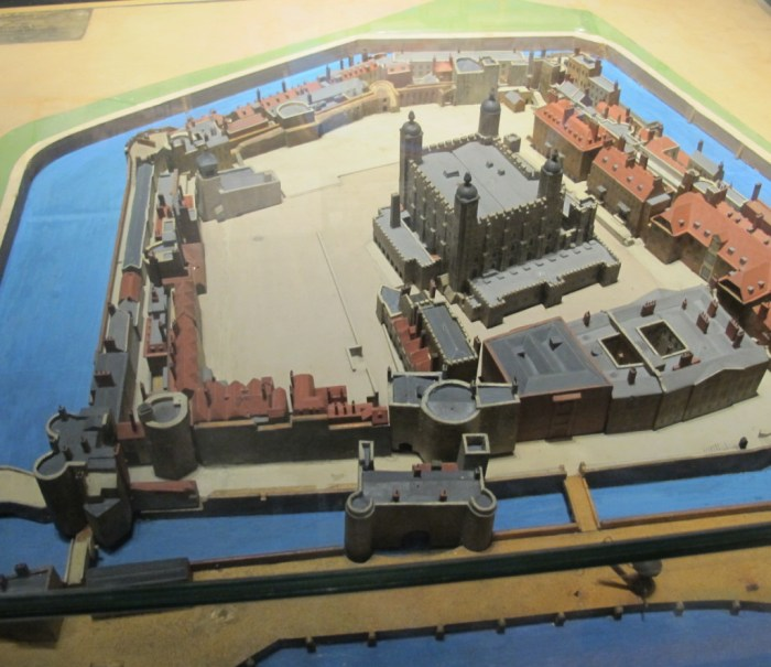 Model of the Tower of London - the main keep, the White Tower, is in the centre.