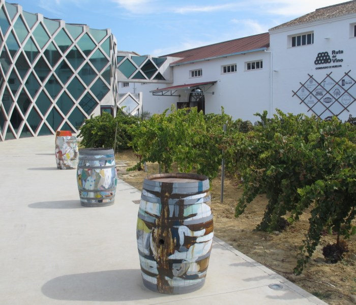 Vines and barrels, two key ingredients of wine-making, outside the Vino del Condado Interpretation Centre.
