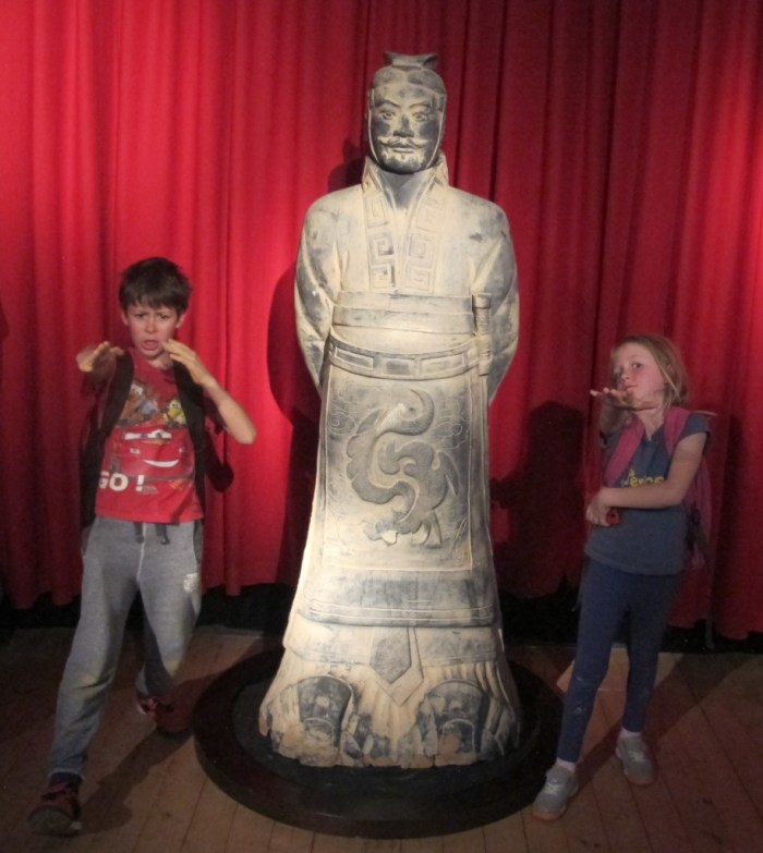 Zac and Lola with a Chinese warrior.