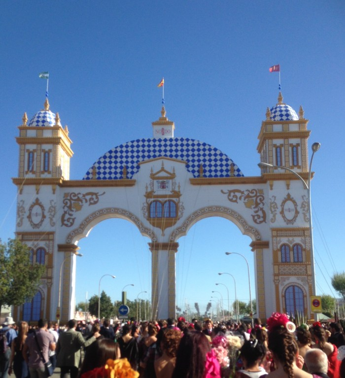 this year's portada, or entrance gate, was inspired by the Argentinian Pavilion of the Expo 1929 in Maria Luisa Park, by the river.