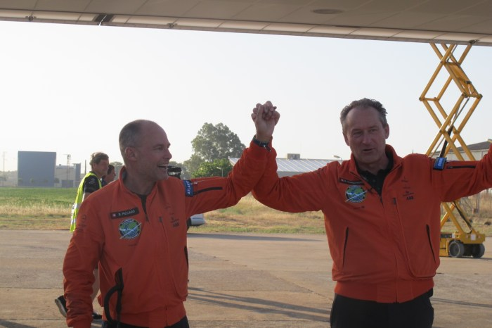 Bertrand Piccard (left) flew the plane, designed by Andre Borschberg (right) over the Atlantic