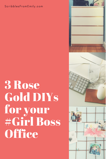 rose gold DIYs for #girlboss office