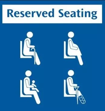 The reserved seating sign on Singapore's MRT system