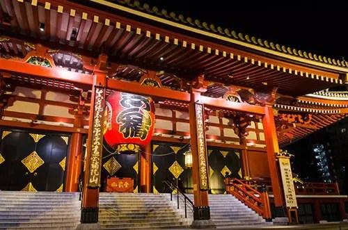 Tokyo's famous Sensō-ji Temple at night.