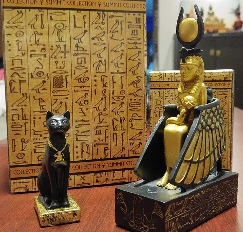 Isis with child. And Cat Goddess Bastet.