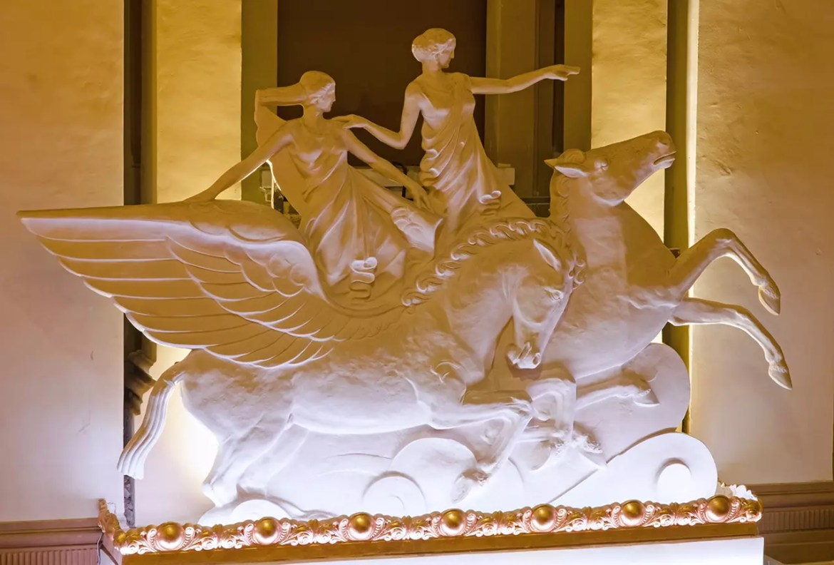 The famous winged horses and maidens in Capitol Theatre Singapore.