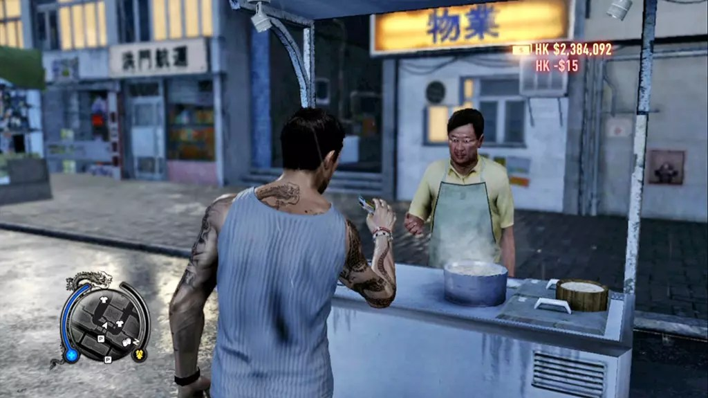Buying food in Sleeping Dogs Xbox 360 Version.