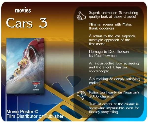 Pixar's Cars 3 review - 6 thumbs up and 2 thumbs down.