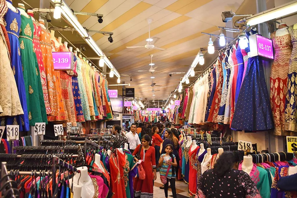 Sarees and Punjabi dresses on sale at Tekka Market.