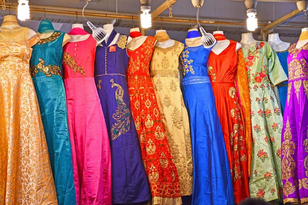 Festive sarees on sale at Tekka Market and Food Centre.
