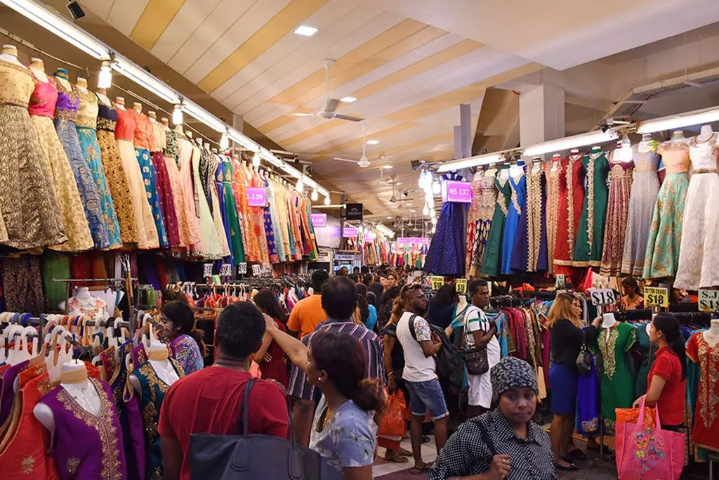 Saree stalls at Tekka Market, Singapore.