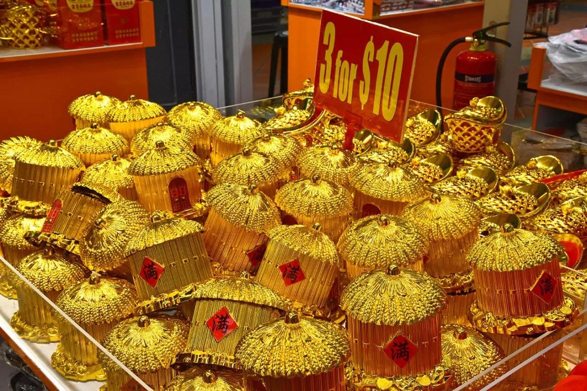 Golden containers at Chinatown Festive Street Bazaar 2018