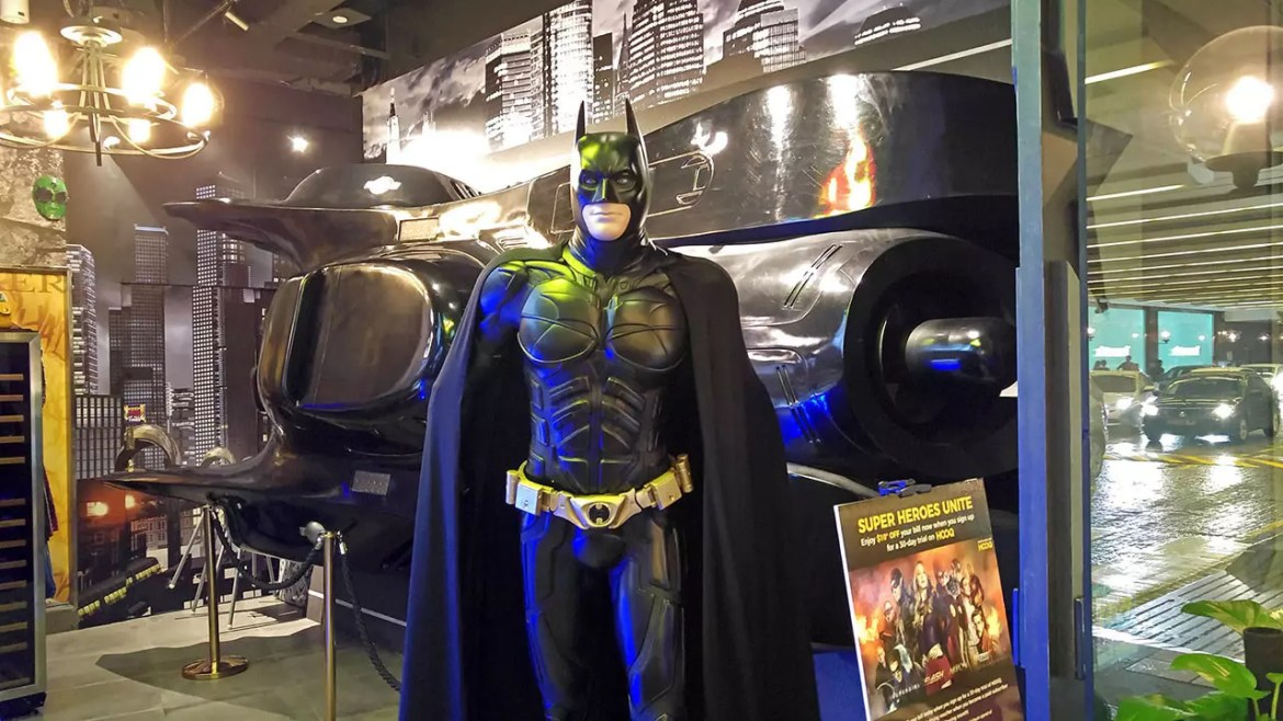 DC Super Heroes Cafe Takashimaya Entrance with Batman and Batmobile