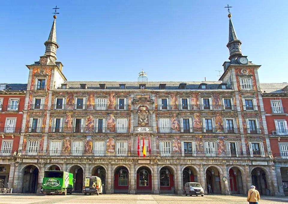 Elaborated painted facades at Plaza Mayor, Madrid.