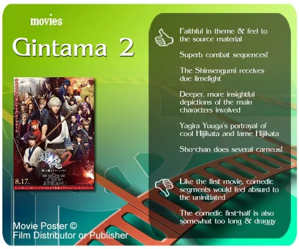 Gintama 2 review: 6 thumbs up and 2 thumbs down.
