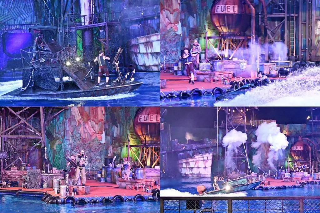 Universal Studios Singapore Waterworld Performance in the evening.