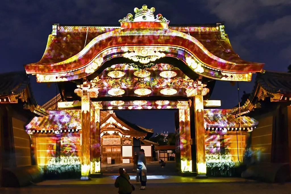 Nijo Castle Karamon Gate Projection Mapping Show.