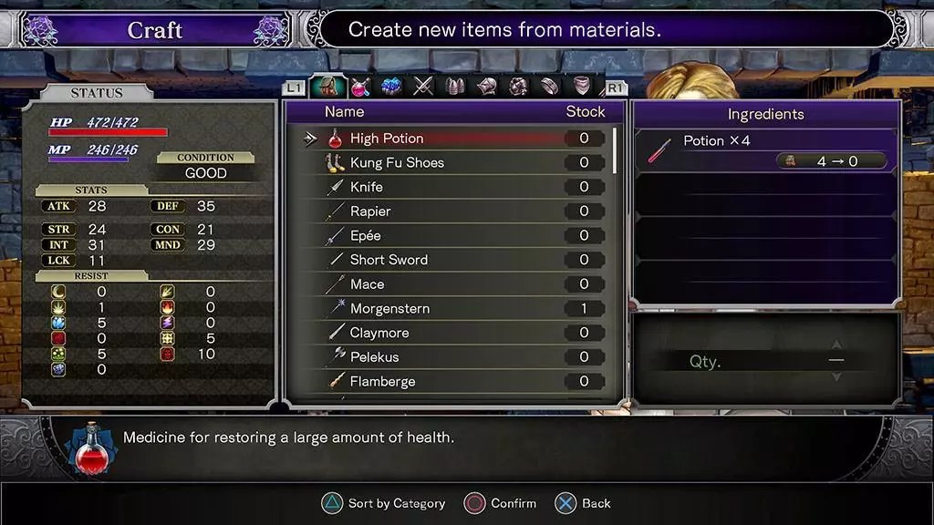 Bloodstained: Ritual of the Night Alchemy System