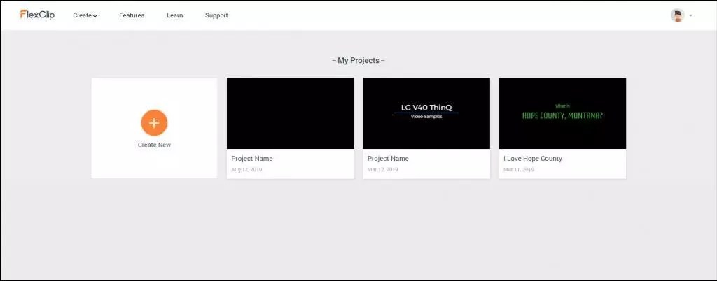FlexClip Online Free Video Maker Create Project Screen.