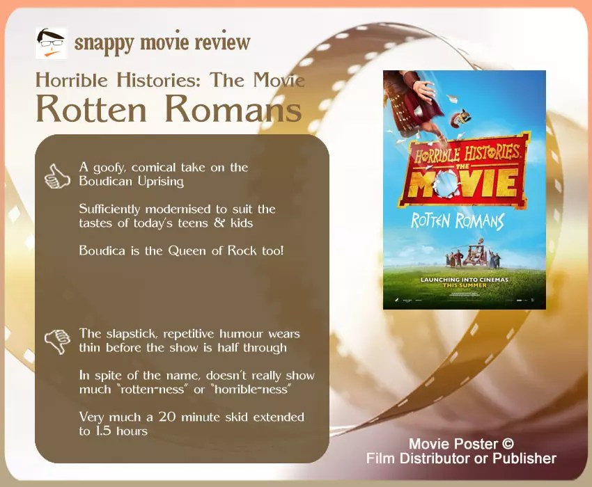Horrible Histories: The Movie – Rotten Romans Review: 3 thumbs-up and 3 thumbs-down.