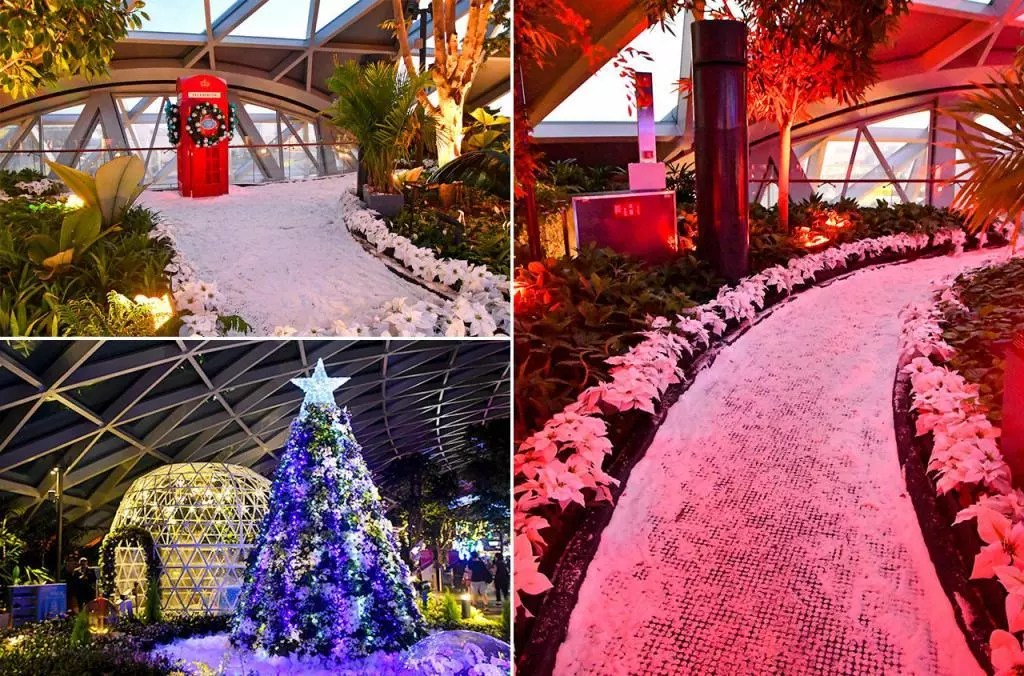 Jewel Changi Airport Christmas Snow Decorations.