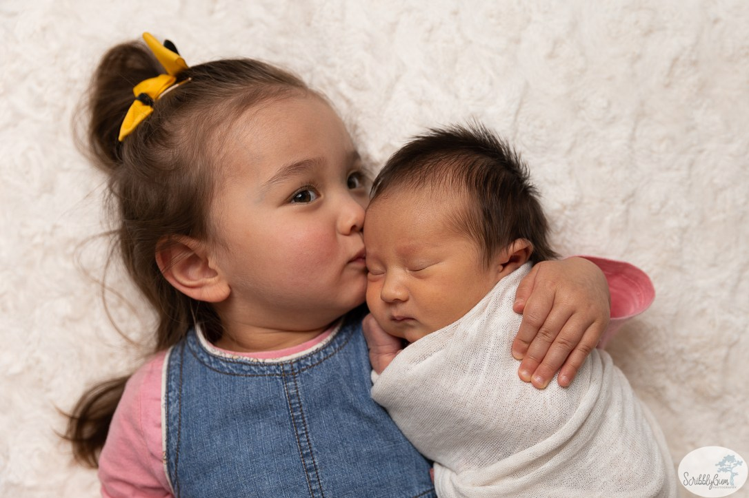 Newborn Baby Photography with big sister toddler