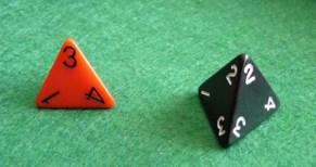 Un dé à quatre faces est une variante de dé comportant quatre faces.