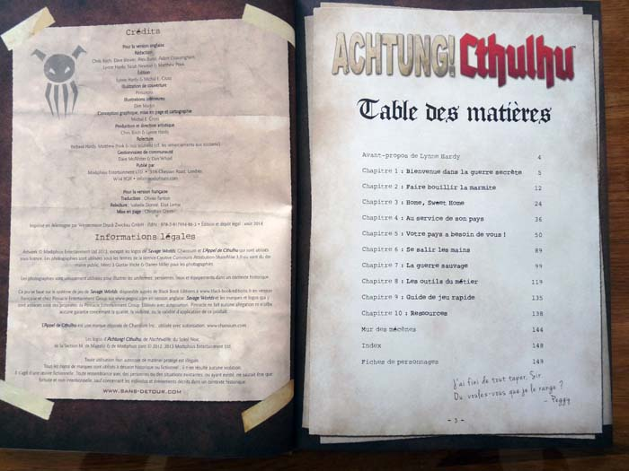 Sommaire Achtung! Cthulhu
