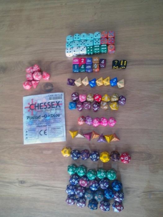 Les dés du paquet Pound-O-Dice de Chessex
