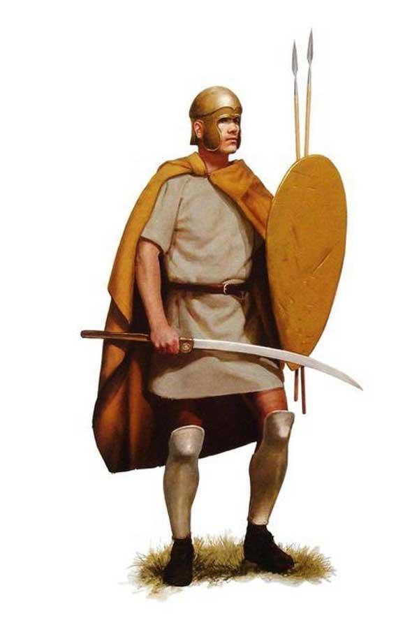 Un guerrier Thrace tenant une rhomphaia