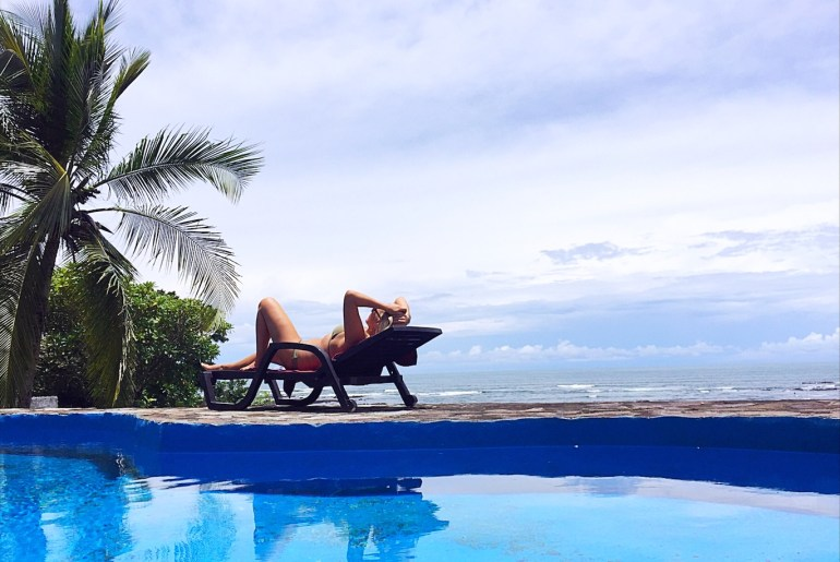 Things to do in Santa Catalina Panama - Girl on deck chair