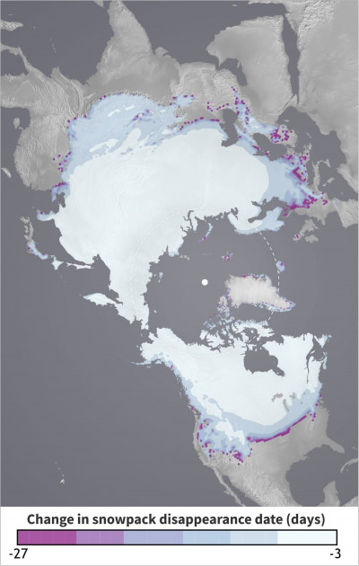 Map showing earlier snowpack disappearance in mountain regions.