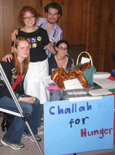 The first sale of challah from Challah for Hunger at Get Out the Vote Rally on campus in 2004